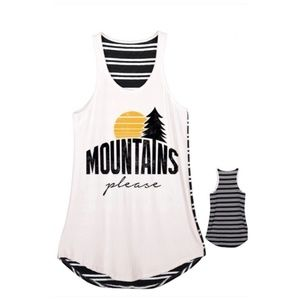 Tops - Mountains Please Black Striped Tank Top NWT